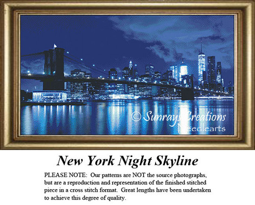 Alluring Landscapes Cross Stitch Patterns   New York Night Skyline