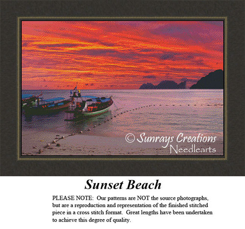 Alluring Landscapes Cross Stitch Patterns | Sunset Beach