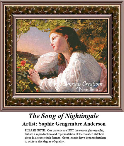 Fine Art Counted Cross Stitch Patterns   The Song of the Nightingale