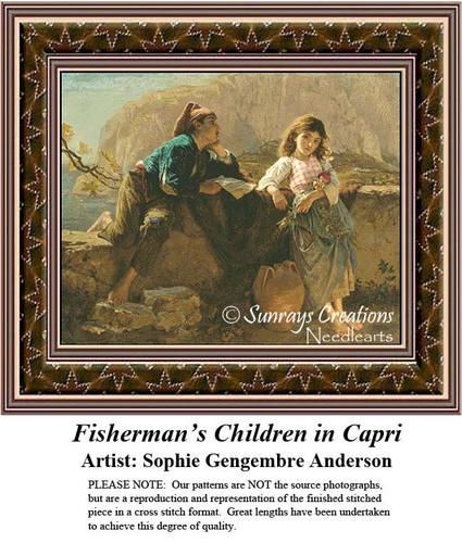 Fine Art Counted Cross Stitch Patterns | Fisherman's Children in Capri