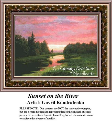 Fine Art Cross Stitch Patterns | Sunset on the River