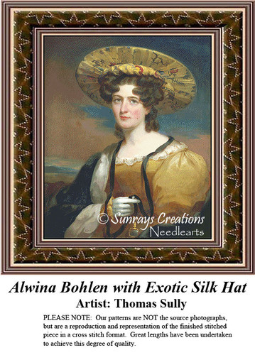 Fine Art Counted Cross Stitch Pattern | Alwina Bohlen with Exotic Silk Hat