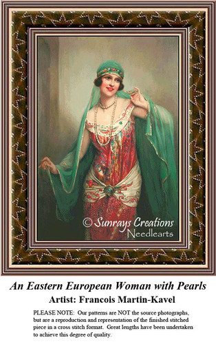 Fine Art Counted Cross Stitch Pattern | An Eastern European Woman with Pearls