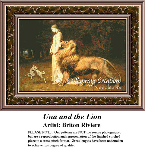 Fine Art Cross Stitch Patterns |Una and the Lion
