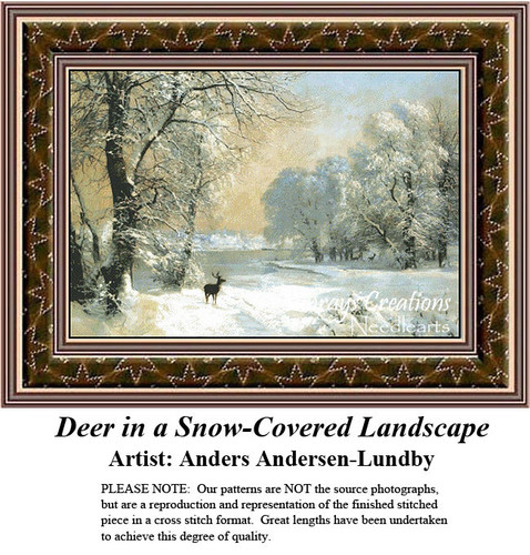 Fine Art Cross Stitch Patterns |Deer in a Snow-Covered Landscape