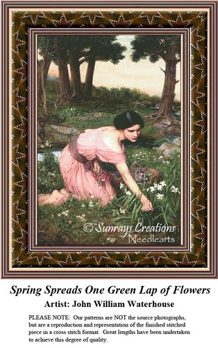 Fine Art Cross Stitch Patterns | Spring Spreads One Green Lap of Flowers