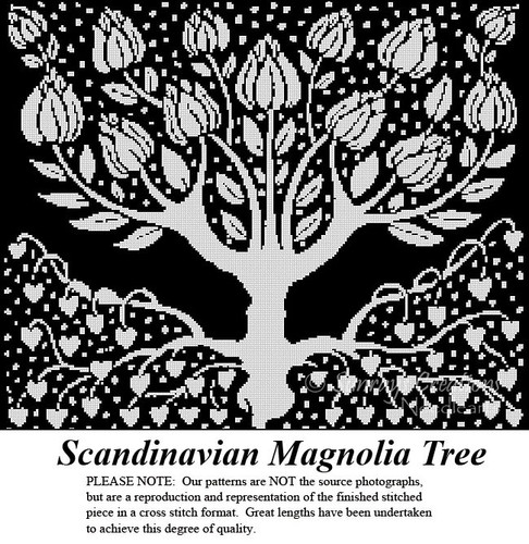 Artful Designs and Fractal Cross Stitch Pattern | Scandinavian Magnolia Tree