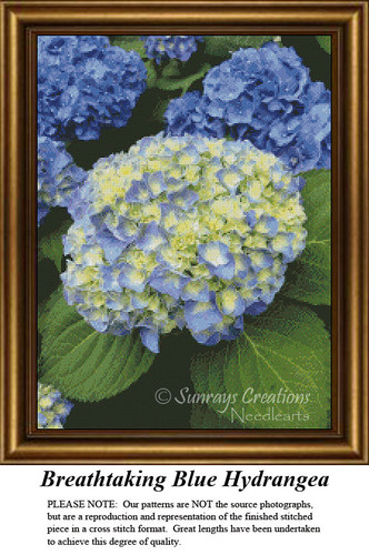 Flower Cross Stitch Pattern | Breathtaking Blue Hydrangea