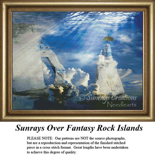 Fantasy Surreal Cross Stitch Patterns | Sunrays Over Fantasy Rock Islands