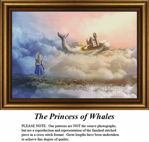 Fantasy Surreal Cross Stitch Patterns | The Princess of Whales