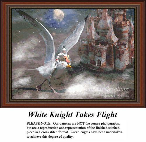 Fantasy Cross Stitch Patter   White Knight Takes Flight