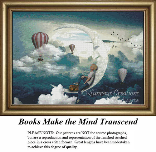 Fantasy Cross Stitch Patter | Books Make the Mind Transcend