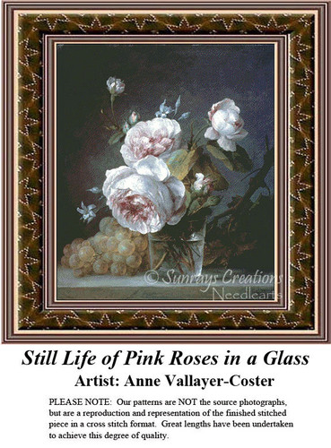 Fine Art Counted Cross Stitch Patterns | Still Life of Pink Roses in a Glass