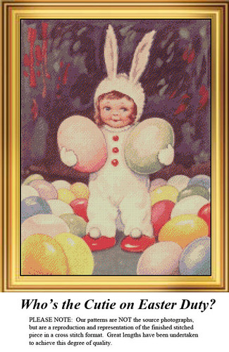 Easter Cross Stitch Pattern | Who's the Cutie on Easter Duty?
