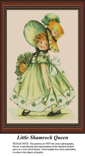 Little Shamrock Queen | Irish Cross Stitch Pattern