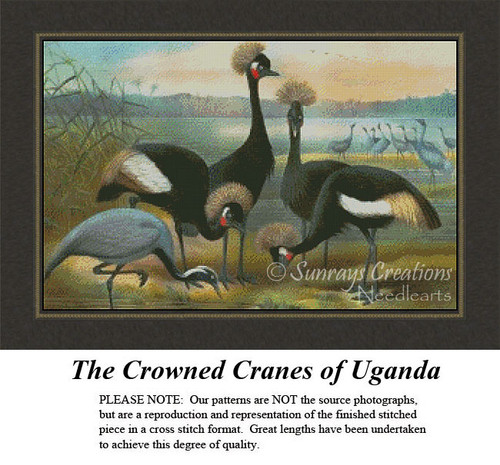 Vintage Cross Stitch Pattern | The Crowned Cranes of Uganda