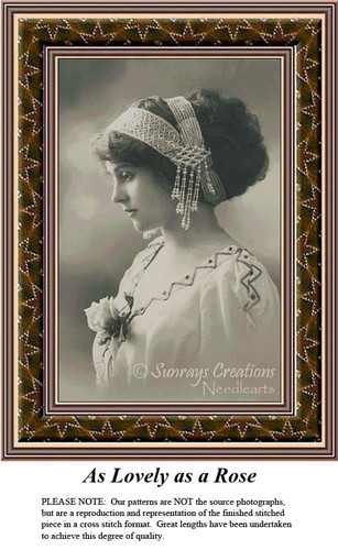 Sepia Cross Stitch Patterns   As Lovely as a Rose