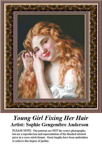 Fine Art Counted Cross Stitch Patterns | Young Girl Fixing Her Hair