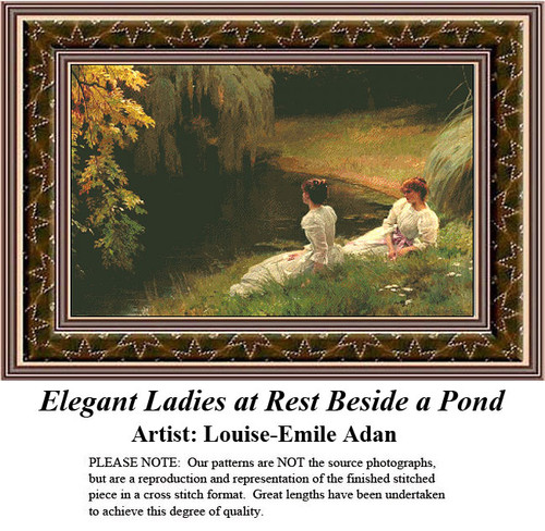 Fine Art Counted Cross Stitch | Elegant Ladies at Rest Beside a Pond