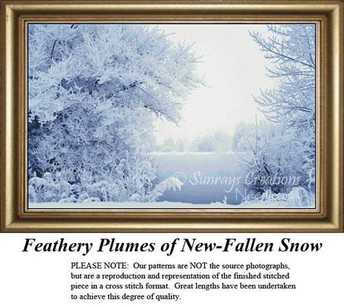 Landscape Cross Stitch Pattern | Feathery Plumes of New-Fallen Snow