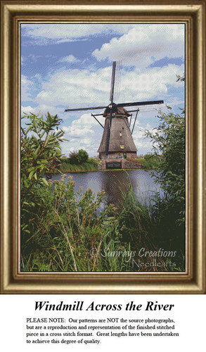 Windmill Across the River, Cross Stitch Pattern