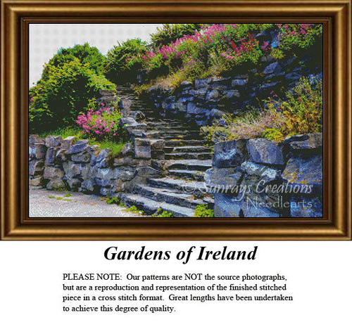 Irish Counted Cross Stitch Pattern | Gardens of Ireland