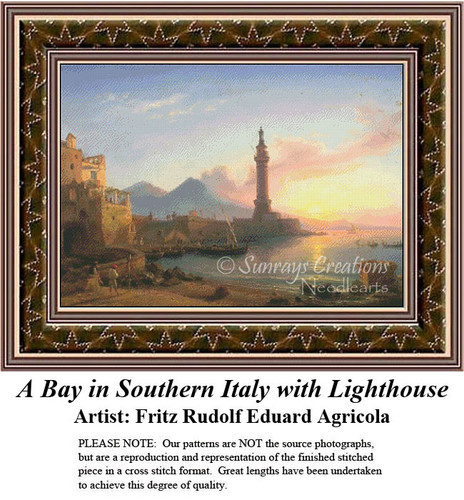 Fine Art Counted Cross Stitch Pattern, A Bay in Southern Italy with Lighthouse