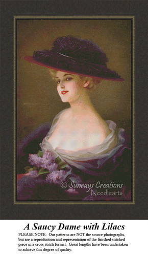 Vintage Cross Stitch Patterns | A Saucy Dame with Lilacs