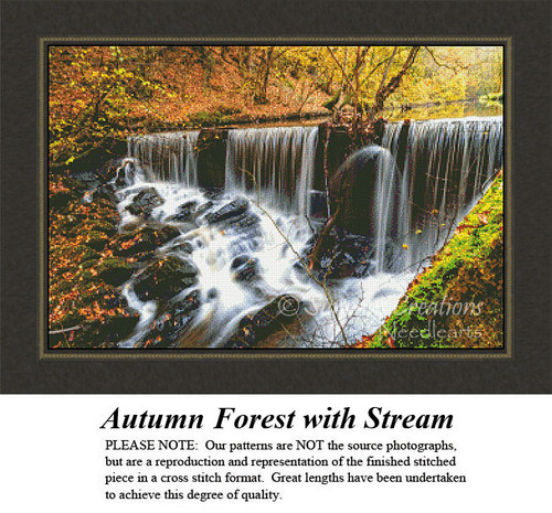 Alluring Landscapes Cross Stitch Patterns | Autumn Forest with Stream