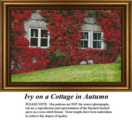 Alluring Landscapes Cross Stitch Patterns | Ivy on a Cottage in Autumn