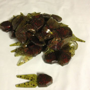(50) Netbait Small Chunk Jig Trailer Bulk Watermelon Crawfish