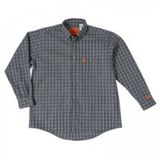 WRANGLER RIGGS WORKWEAR FLAME RESISTANT FR SHIRT CHOCOLATE PLAID