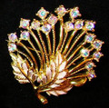 M.Jent Rhinestone AB and Enamel Brooch