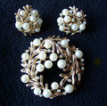 Trifari Faux Pearl and Rhinestone Pin and Earring Set