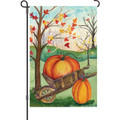 Pumpkin in a Wheelbarrow: Garden Flag