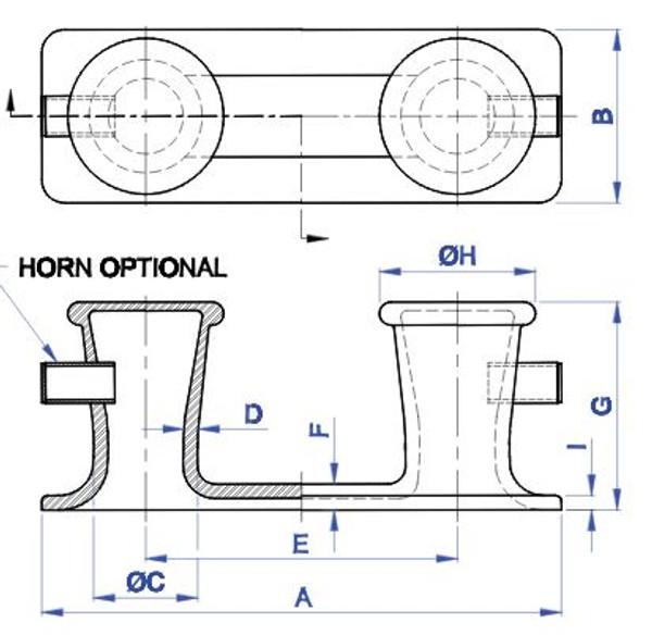 "Bitt - 10"" Double with Horns"