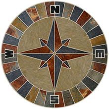 36-inch Slate & Limestone Compass Rose Mosaic Medallion with NSEW