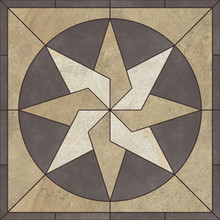 Porcelain Tile Starburst Pinwheel Mosaic Medallion Ancient Stone2