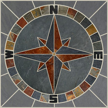 Multi & Gray Slate Compass Mosaic Medallion -Round in Square