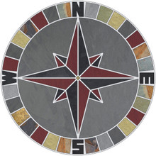 -Mariners Compass Rose Tile Mosaic Medallion with Gray & Multi Slate plus NSEW Lettering