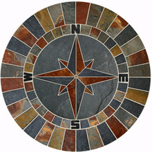 40-inch Natural Slate Compass Rose Mosaic Medallion DB