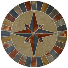 36-inch Slate & Limestone Compass Rose Mosaic Medallion