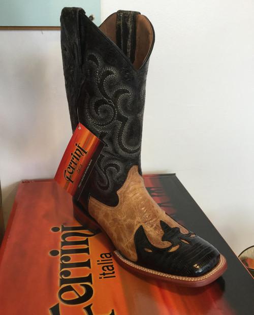 Ferrini Lizard Backut Wingtip Men's Cowboy Boot