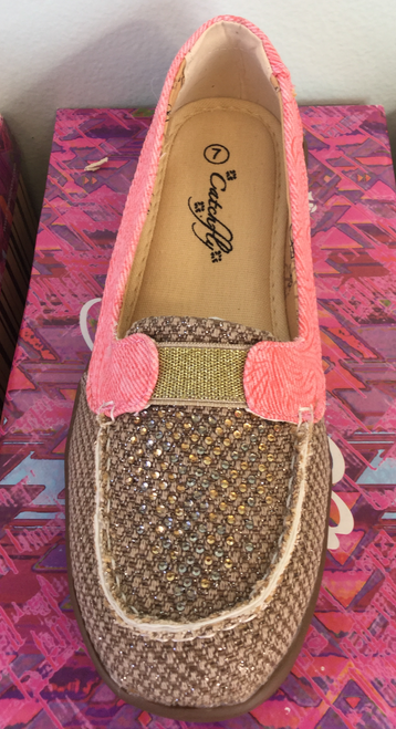 Catchfly Shoe Tooled Leather look canvas in coral