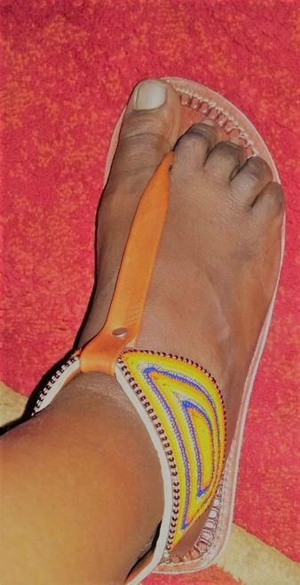 Beaded zipper sandal