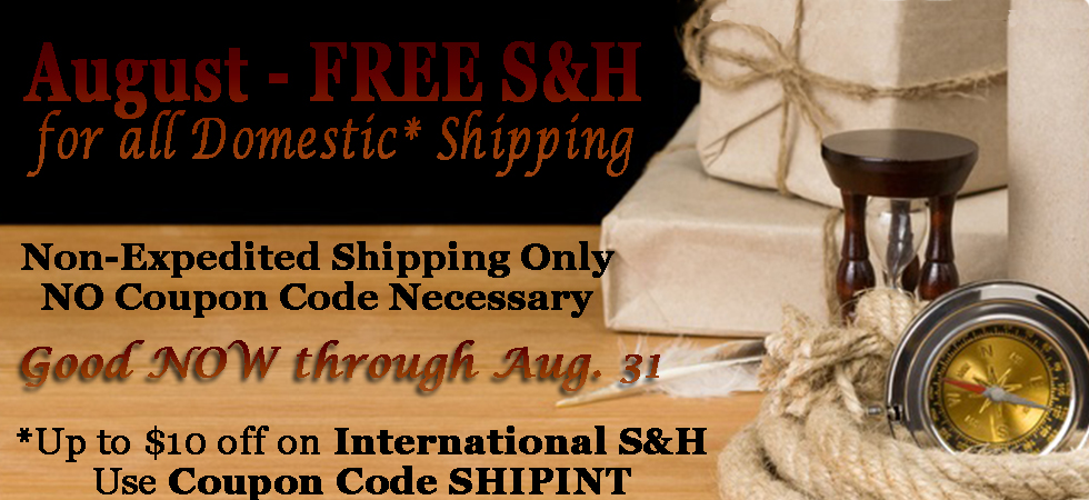 Free Domestic S&H in August!