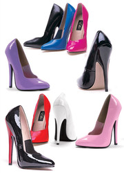"6"" Fetish Heel Pumps - 9 Colors in Sizes 5 - 14"