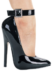 "6"" Heel Fetish Pump w Ankle Strap - Sizes 5 to 14"