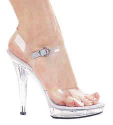 "5"" Heel Clear Sandal w Platform - Sizes 5 - 12"