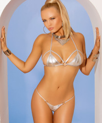 Silver Lamé Bikini Top and Matching G-String Bottom. Size O/S